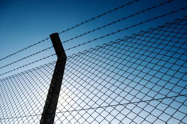 fil barbelé barrière - prison photos et images de collection