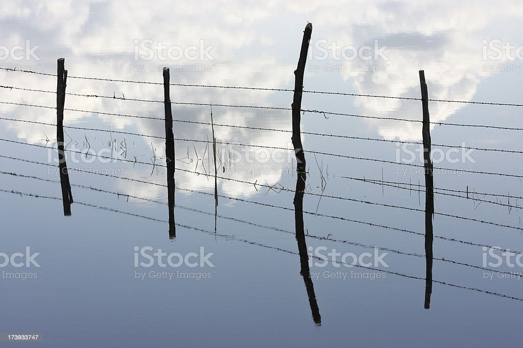Barbed Wire Fence Post Abstract royalty-free stock photo