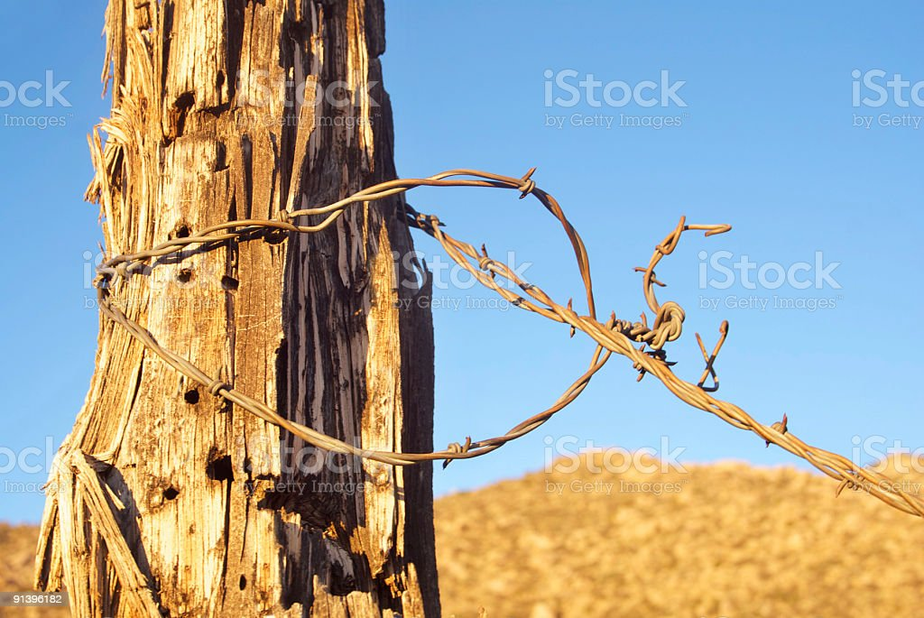 barbed wire fence post desert sunset landscape royalty-free stock photo