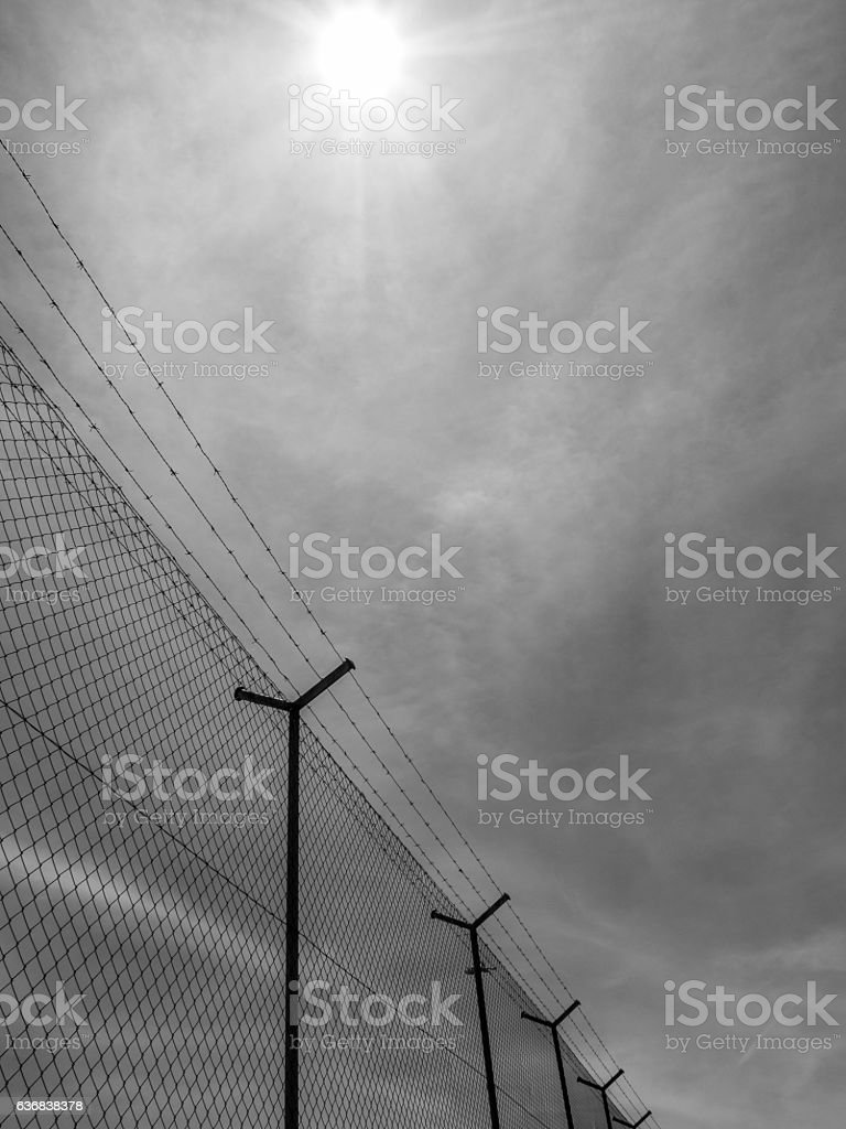 Barbed wire fence under the sun background stock photo