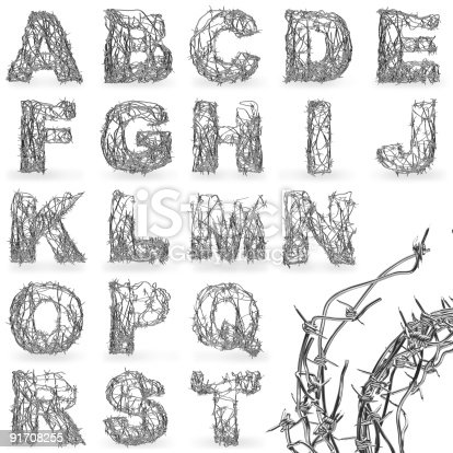 istock Barbed wire font 91708255