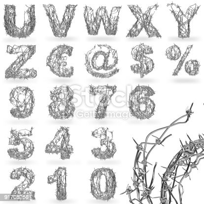istock Barbed wire font 91708256