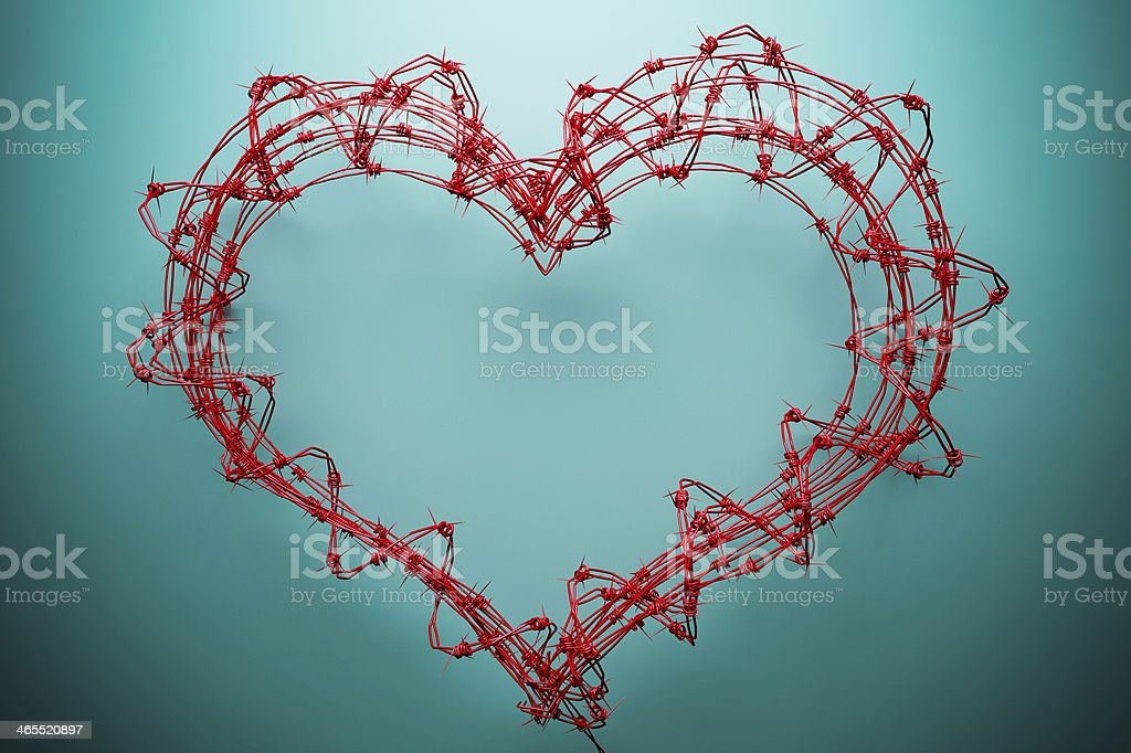 barbed wire heart stock photo