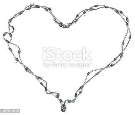 Barbed Wire Heart Stock Photo & More Pictures of Barbed Wire   iStock