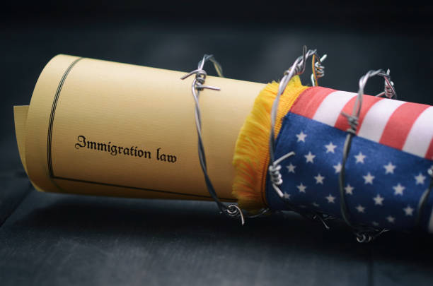 Barbed wire , Immigration Law and flag of United States Of America stock photo Barbed wire , Immigration Law and flag of United States Of America, immigration concept deportation stock pictures, royalty-free photos & images