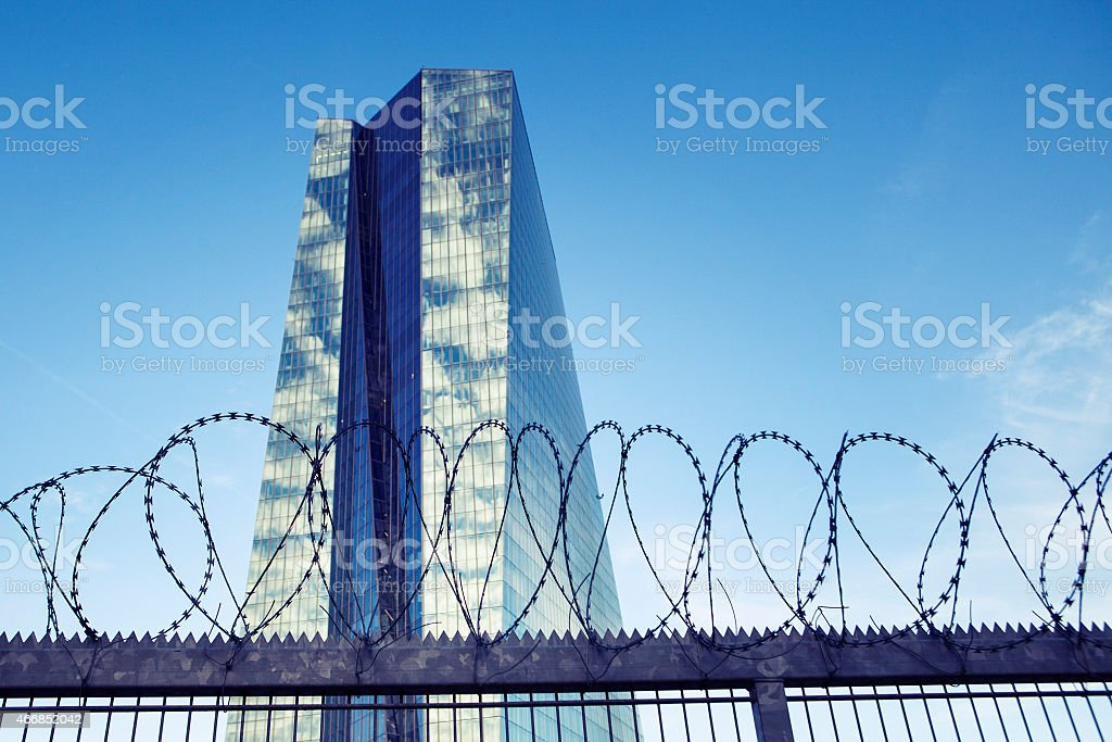 Barbed wire in front of European Central Bank, Frankfurt stock photo