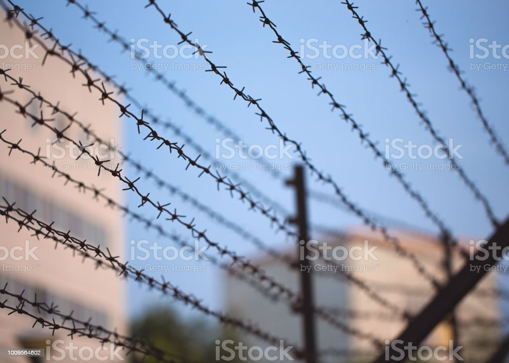 Barbed wire near private property Barbed wire border along private property Barbed Wire Stock Photo
