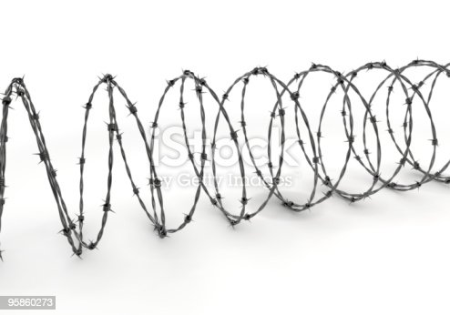 Barbed wire isolated on white background. High resolution rendering.