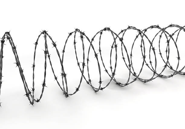Barbed wire on a white surface stock photo