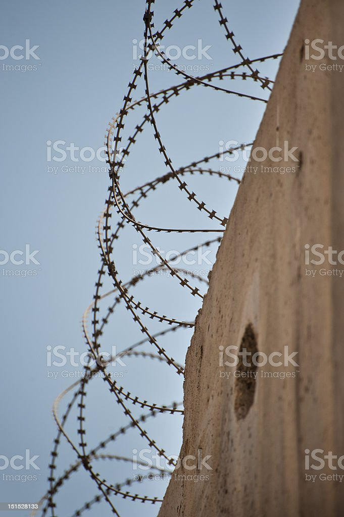 Barbed Wire on Israeli Separation Wall royalty-free stock photo