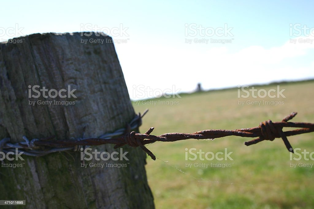 Barbed wire post royalty-free stock photo