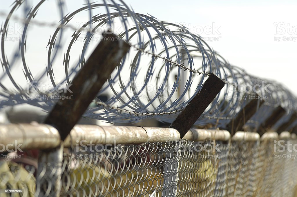 Barbed Wire US Border Fence stock photo