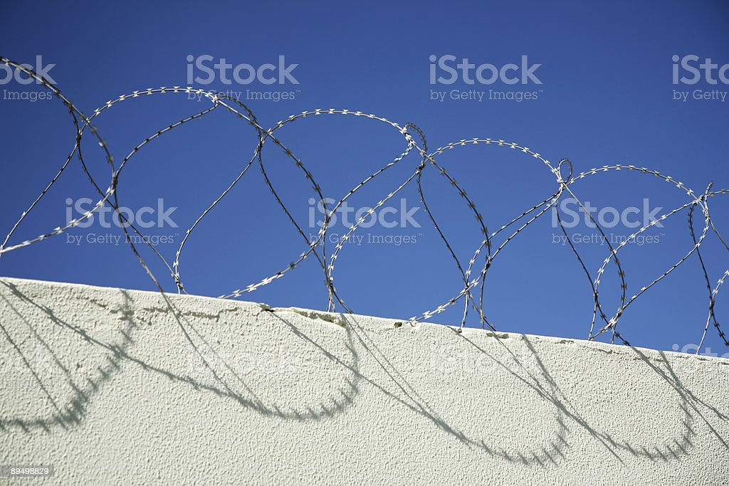Barbed wire wall royaltyfri bildbanksbilder