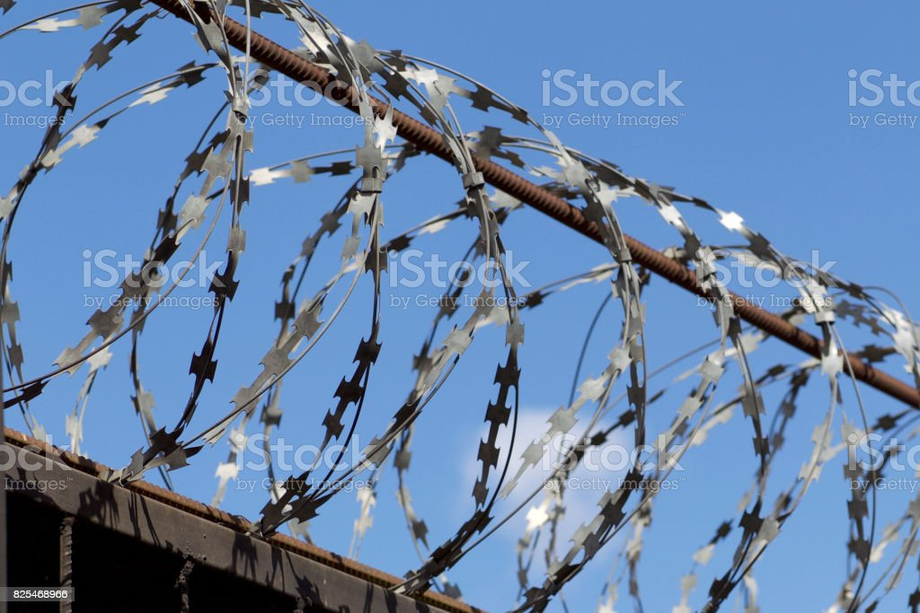 Barbed wire wound to the top of a fence stock photo