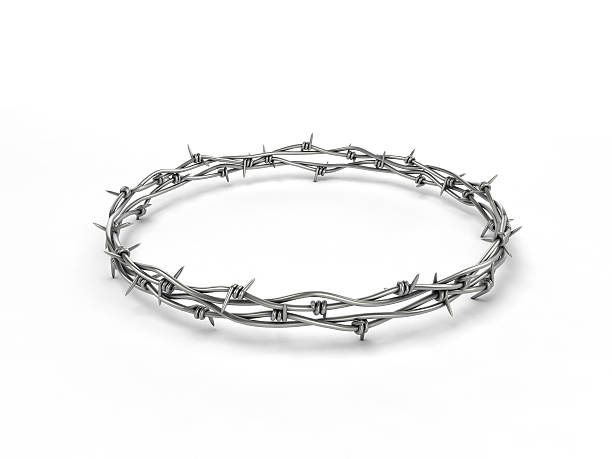 Barbed wire wreath stock photo