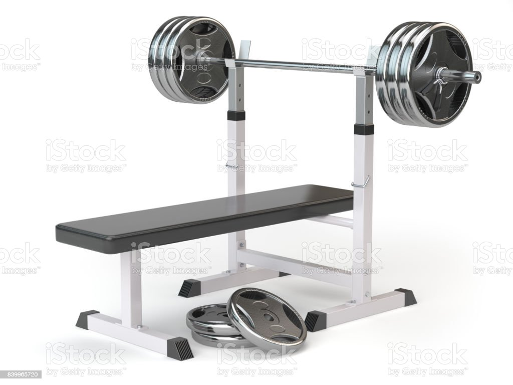 Barbell bench isolated on white. stock photo