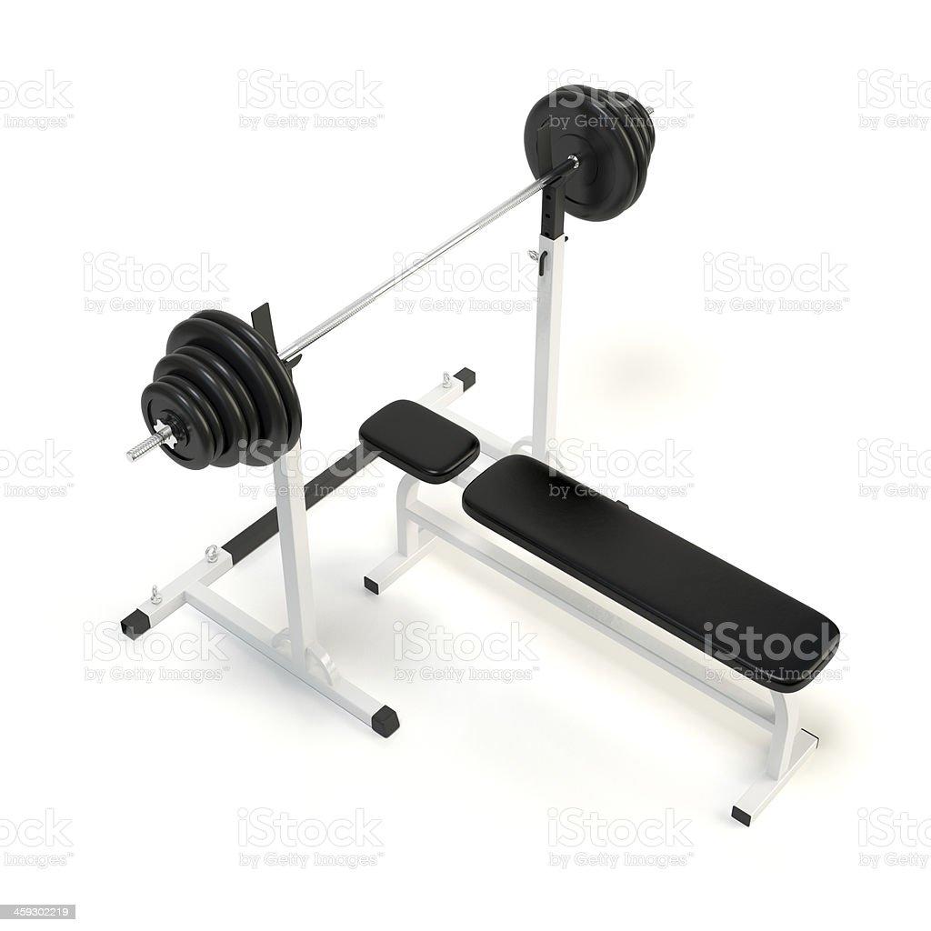 Barra para pesas Levantamiento de pesas en banco foto de stock libre de derechos
