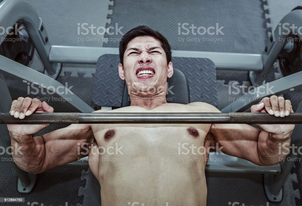 Barbell Bench Press WorkOut stock photo