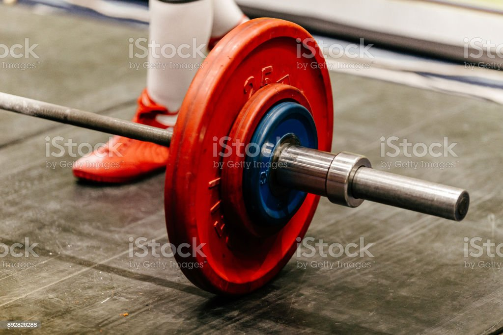 barbell for deadlift athlete powerlifter preparing for attempt stock photo
