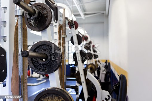 Variety of weights on a rack inside a fitness club.