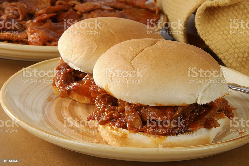 Barbeque beef sandwich stock photo