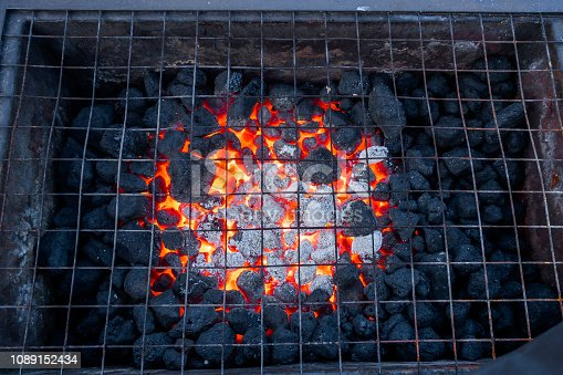 Barbeque coal glowing