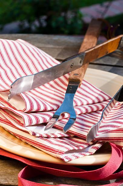 barbeque fork - grillschürze stock-fotos und bilder
