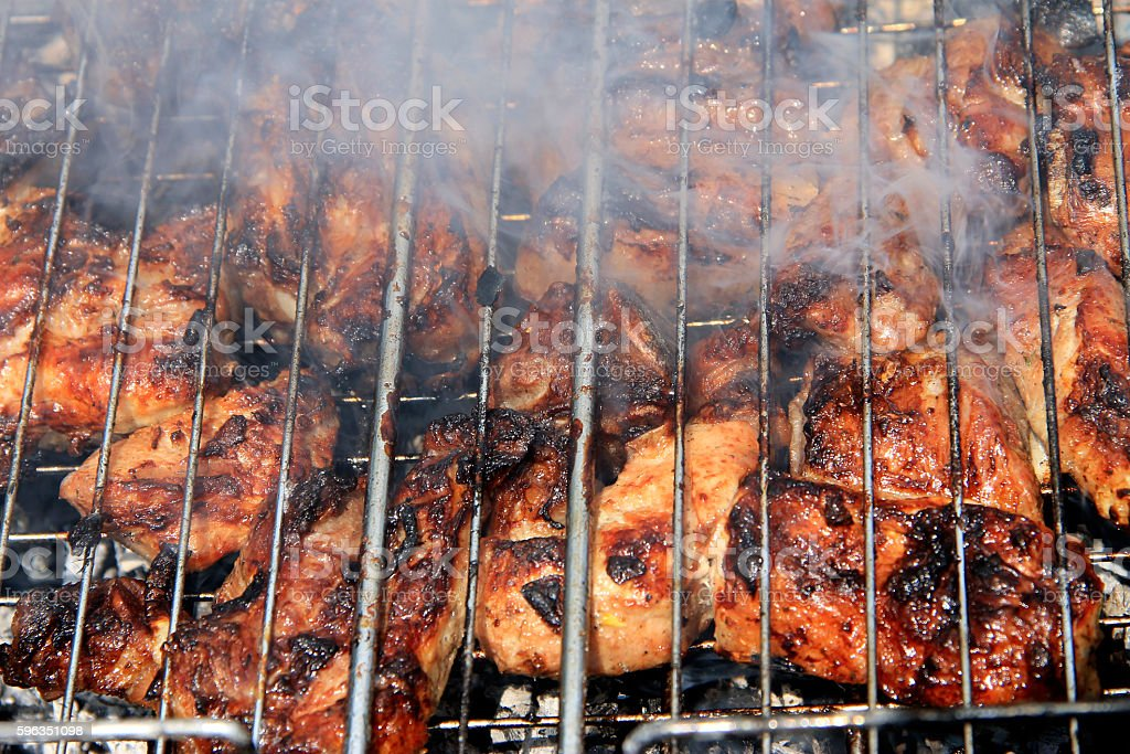 Barbeque Fried On The Bonfire And Coals royalty-free stock photo