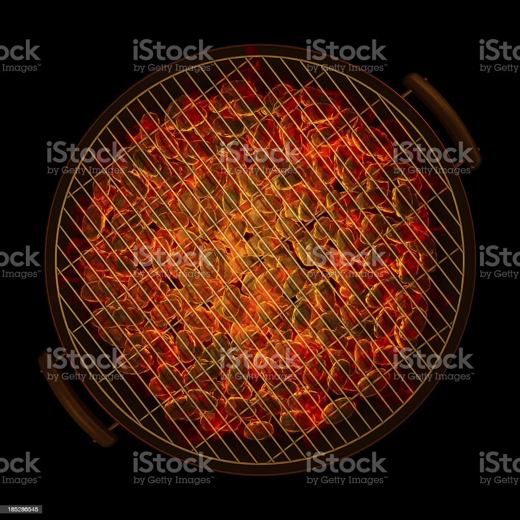 barbeque grill top down view royalty-free stock photo