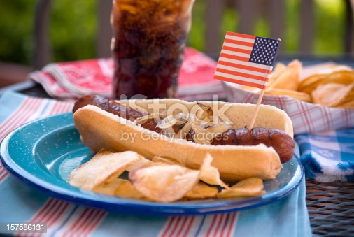 470765518istockphoto Barbeque Hot Dog, Fourth of July Picnic Table & Patriotic Food 157586131