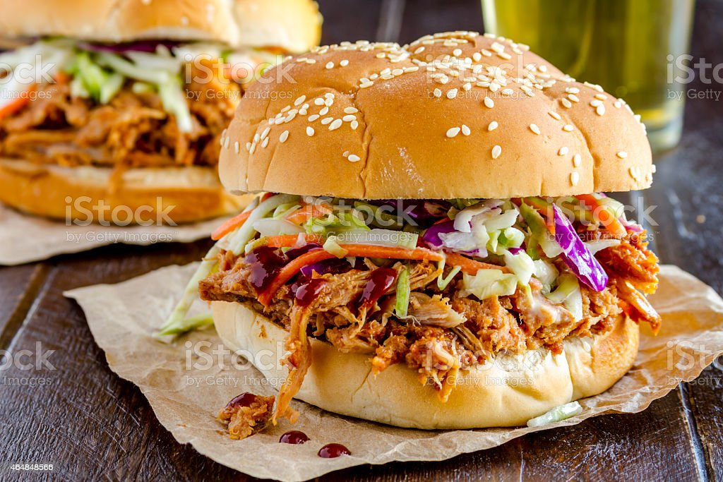 Barbeque Pulled Pork Sandwiches stock photo
