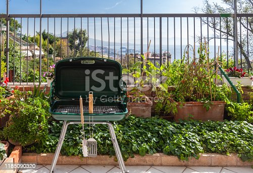 Barbeque ready to be Used, photo taken in a private garden in Naples, Italy