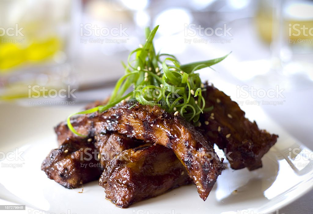 Barbeque Ribs, Pork Meat Sparerib Dinner & Food at Gourmet Restaurant royalty-free stock photo