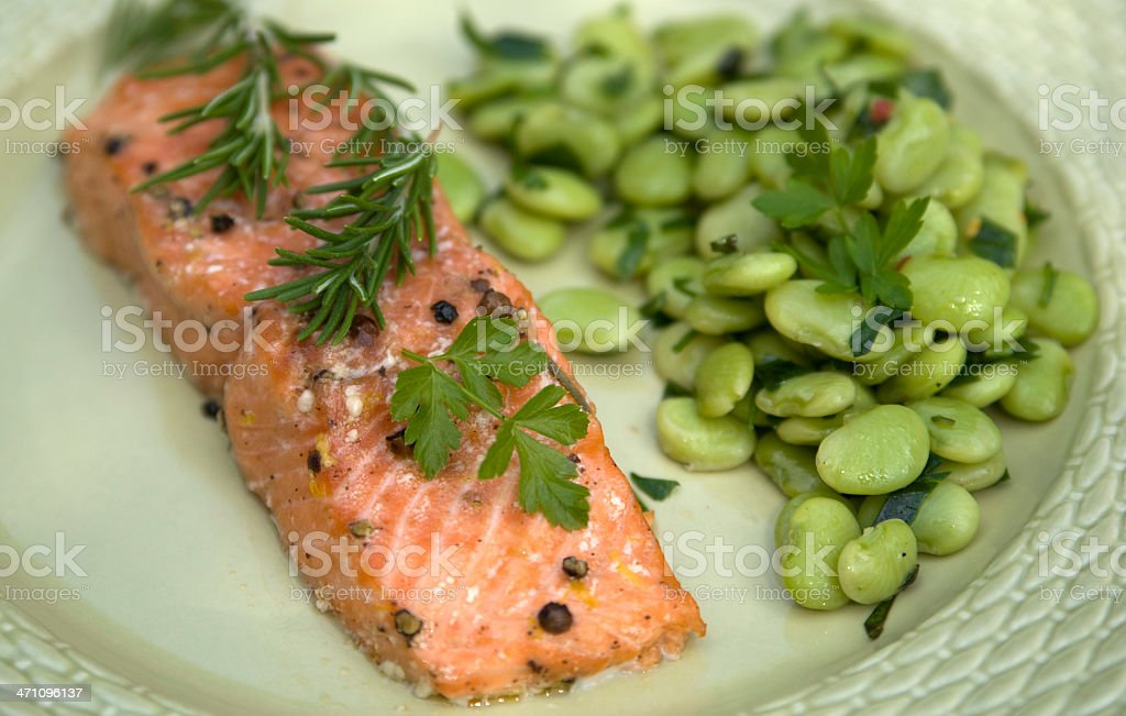 Barbeque Salmon Dinner stock photo