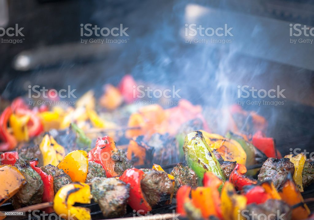 Barbeque with beef and  fresh vegetables royalty-free stock photo