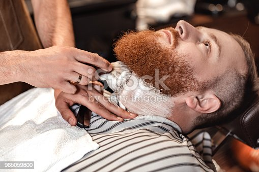 Barber And Bearded Man In Barber Shop Stock Photo & More Pictures of Adult