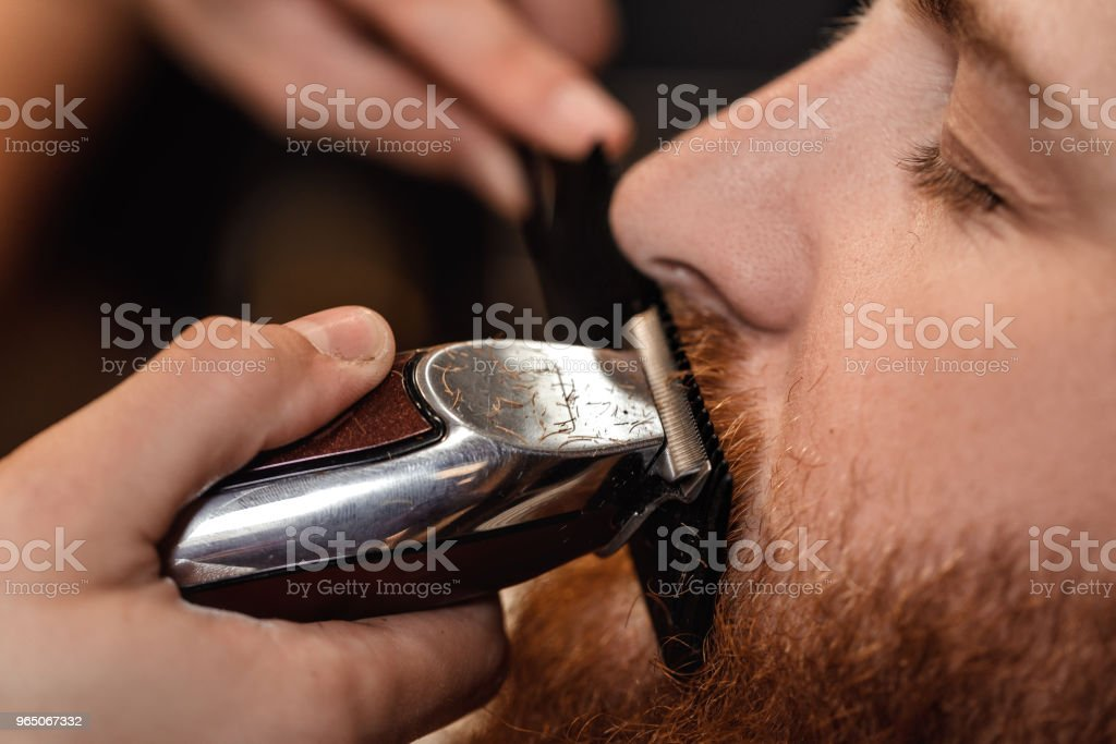 Barber and bearded man in barber shop royalty-free stock photo