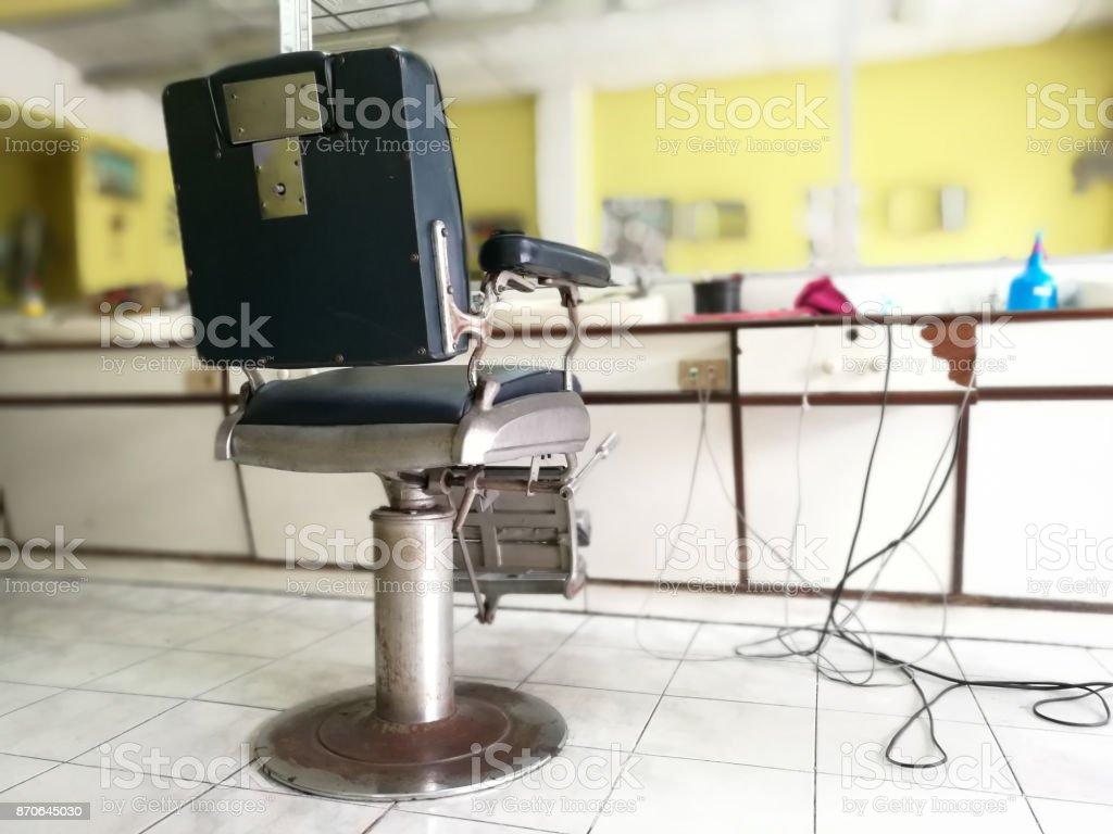 Barber Chair In Thailand. Barbershop Interior blur background stock photo