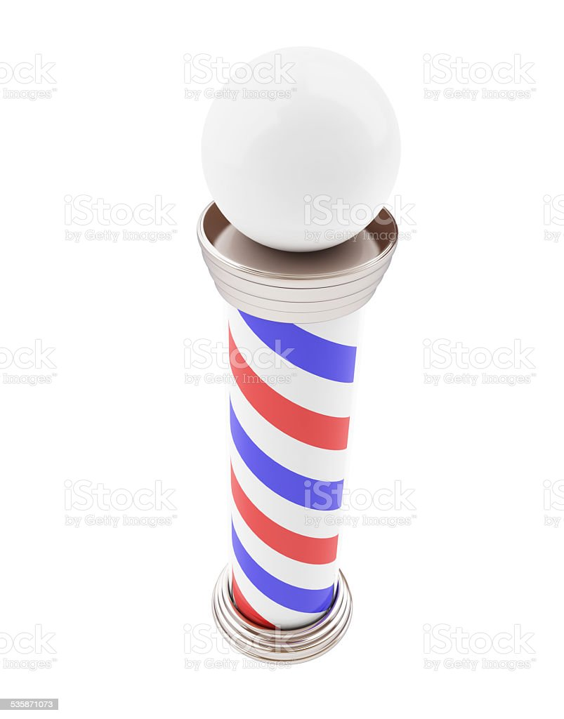 Barber Pole 3d on a white background stock photo