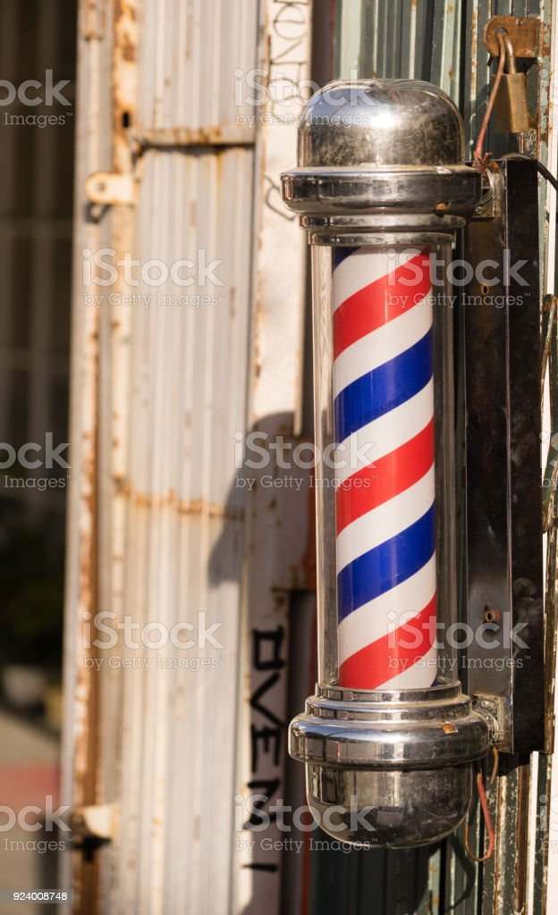 Barber Pole Business Advertisement Downtown stock photo