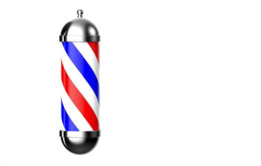 istock Barber pole on white background and space for text. 3D Rendering 848930274