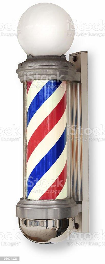 barber pole on white stock photo
