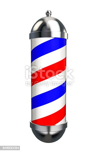 istock Barber Pole Sign isolated on white background. 3D Rendering 848930264