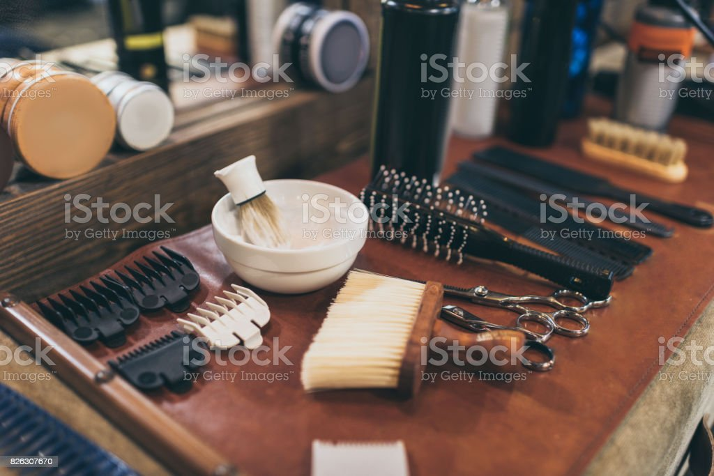 Barber professional equipment - fotografia de stock