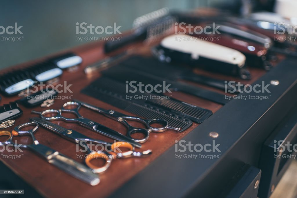 Barber professional equipment stock photo