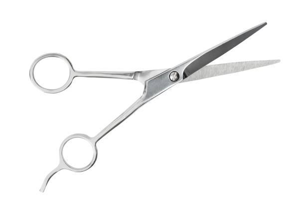 Barber scissors on white stock photo
