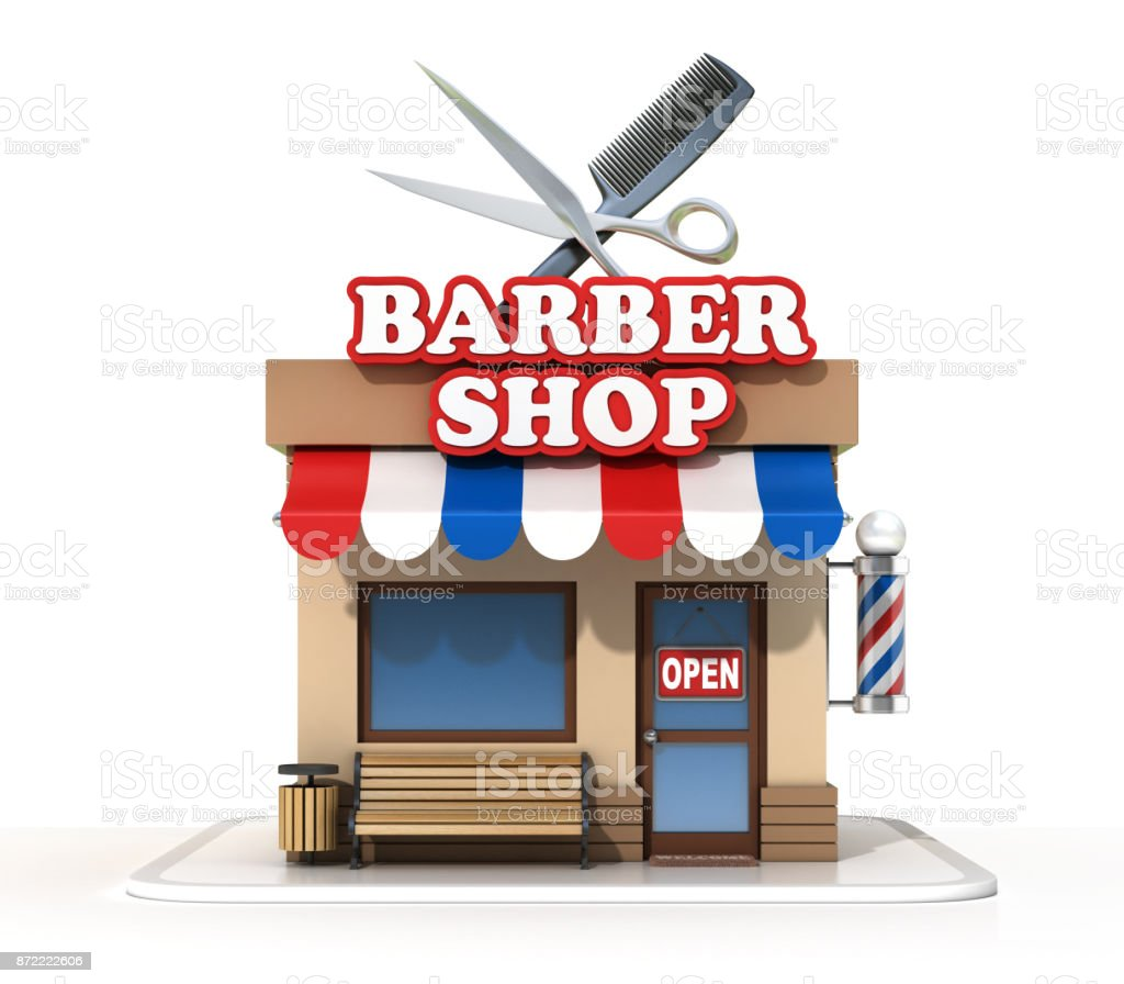 Barber shop on a white background 3d rendering - foto stock