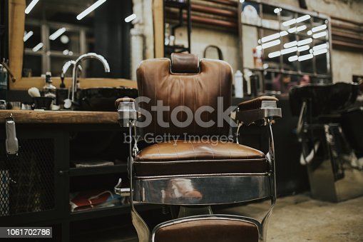 Old vintage chair in barber shop.