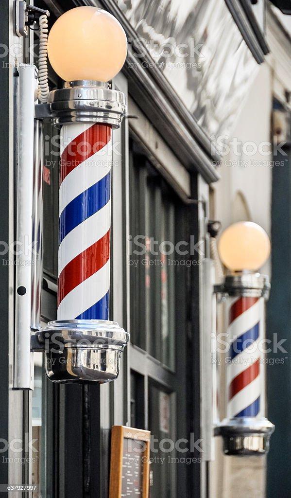 Barber shop sign in Paris stock photo