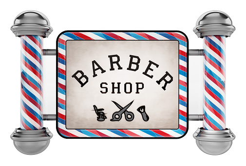 Barber shop signboard isolated on white